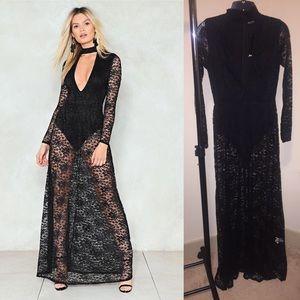 Nasty Gal Dresses - Nasty Gal Black Lace Bodysuit Maxi Dress 4 & 6